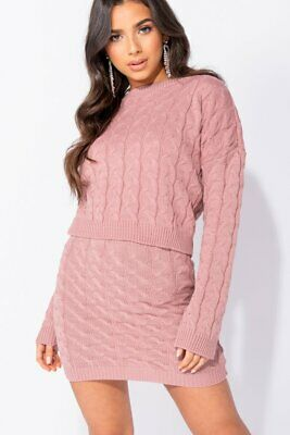 Rose Cable Knit Cropped Jumper & Mini Skirt Co Ord Set