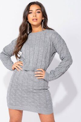 Grey Cable Knit Cropped Jumper & Mini Skirt Co Ord Set