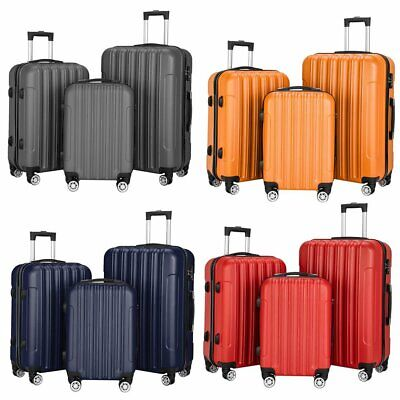 3 Piece Travel Spinner Luggage Set Hardside Business Case (20, 24, & 28 Inch)