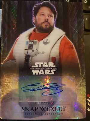 2016 Star Wars The Force Awakens Chrome Greg Grunberg as Snap Wexley AUTO 08/50