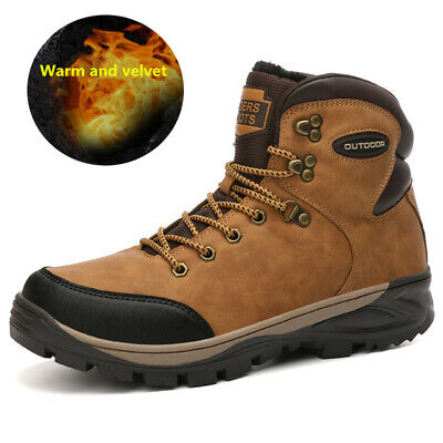 Waterproof Mens Leather Warm Plush Martin Boots Ankle Snow Boots Hiking Sneakers