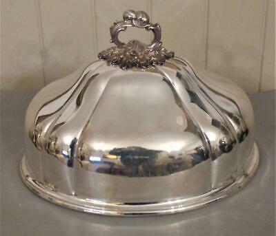 Superb Elkington & Co Antique Silver Plated Meat Dome with Ornate Handle C 1855