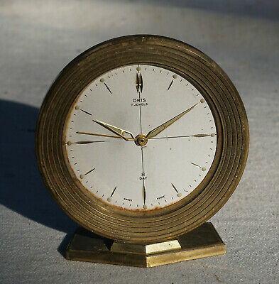 Oris 7 Jewels 8 Day Clock Swiss Made Brass Art Deco Style Alarm Clock.