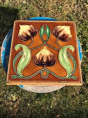 Antique Art Nouveau Tile Stand With Carved Wood Surround