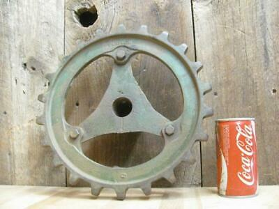 "Antique Cast Iron 12"" Chain Sprocket Gear Industrial Art SteamPunk Lamp Base"