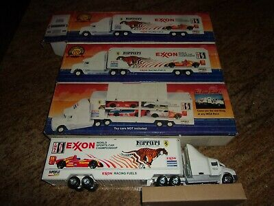 Qty (3) Exxon 1995 Race Car Carrier # 4 In Series