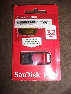 Sandisk Cruzer Edge USB 2.0 flash drive, memory card stick,32gb,new,packaged!...