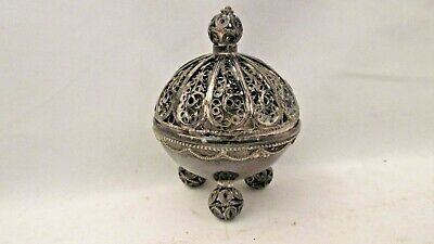 Antique  Sterling Silver Three Footed Round Filigree Saccarine Box/ Lid/ Tongs