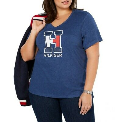 TOMMY HILFIGER NEW Women's Plus Size Logo V-neck Casual Shirt Top TEDO
