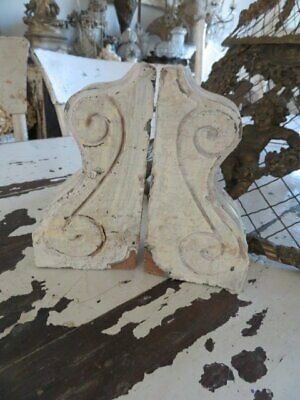 AWESOME SMALL Petite PAIR Old Architectural Wood CORBELS Chippy White Time Worn