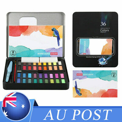 Watercolour Paint Set With Brush Water Painting Pen Art Artist Kit Tin 36*Colors