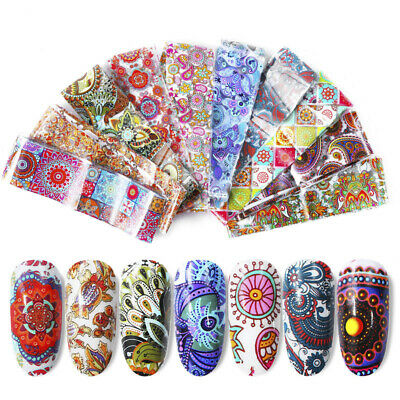 Nail Foil Sticker Flower Transfer Decals Nail Art Holographic Stickers Tips