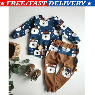 UK Baby Boy Cotton Pullover Top +Pants Clothes Kids Boys Tracksuit Outfits Set