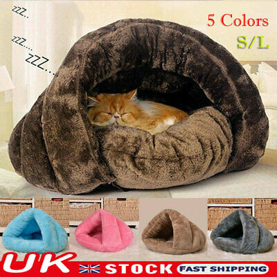 Pet Dog Cat Bed House Warm Soft Mat Bedding Cave Basket Kennel Washable Nest UK