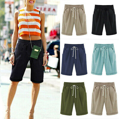 Women Chino Cargo Shorts Elastic Waist Knee Length Cropped Pants Casual Trousers