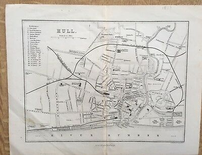 City Of Hull C1880 Published By A&C Blackie Drawn & Engraved By J Bartholomew