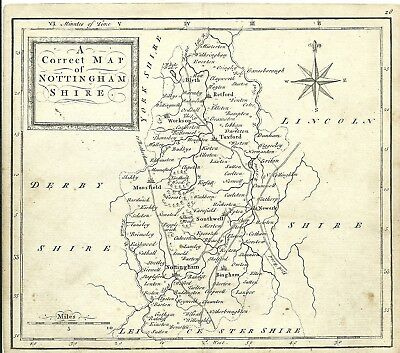 "Antique Map Of Nottinghamshire C1745 T Osborne ""Geographia Magnae Brittanniae"""