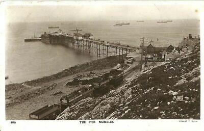 Mumbles The Pier Train On Stop Steamer Moored 1914 Ernest T Bush Real Photo Pc