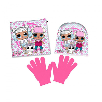 Set Guanti Cappello Scaldacollo Con Personaggi L.O.L Surprise!