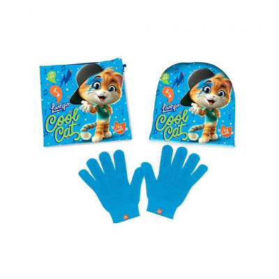 Set Guanti Cappello Scaldacollo Con Personaggi Cool Cat 44 Gatti