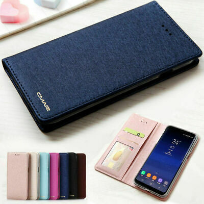 Luxury Slim Wallet Silk Leather Stand Flip Case Cover For Samsung Galaxy phones