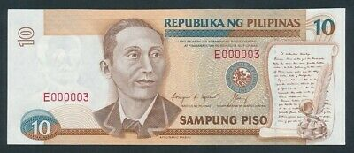 "Philippines: 1992 10 Piso RARE LOW SERIAL NUMBER ""E 000003"". Pick 169d"