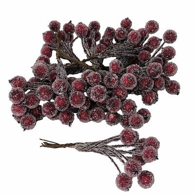 Artificial Burgundy Red Frosted Holly Berries 12mm (x 108) on wire for Christmas