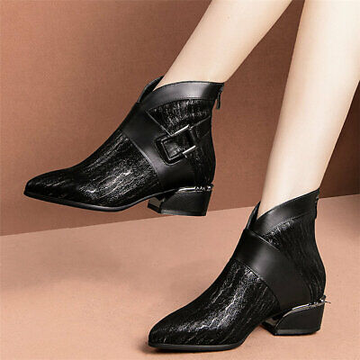 Women's Cow Leather Pointed Toe Low Heel Ankle Boots Lady Office Oxfords Shoes