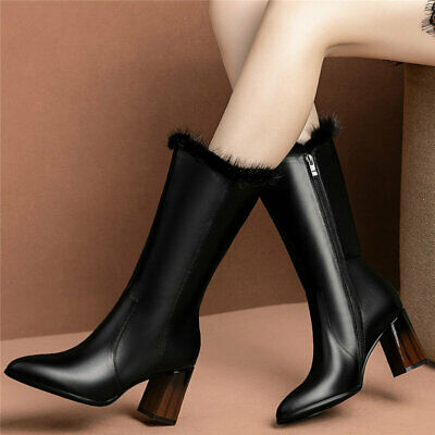 Women's Cow Leather High Heel Mid Calf Boots Pointed Toe Rabbit Fur Winter Pumps
