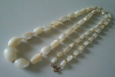 """Antique Victorian Mother of Pearl Bead Necklace 36"""" long, ready to wear."""