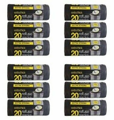 12 X Tidyz Refuse Sack Extra Thick Roll of 20 **2489