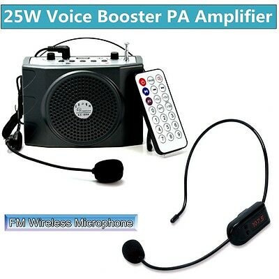 5W Voice Booster Amplifier Loud Speaker+Remote+FM Wireless Microphone Receiver