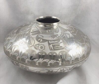 Howard Sice Hopi Native American Sterling Decorated Large Great Vase / Seed Bowl