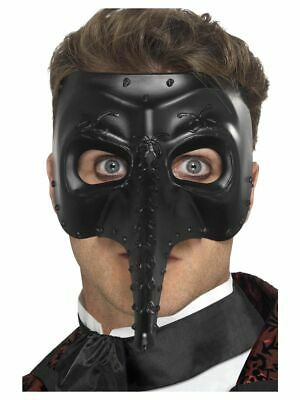NEW Men's Venetian Gothic Capitano Mask, Black Masquerade Fancy Dress Accessory