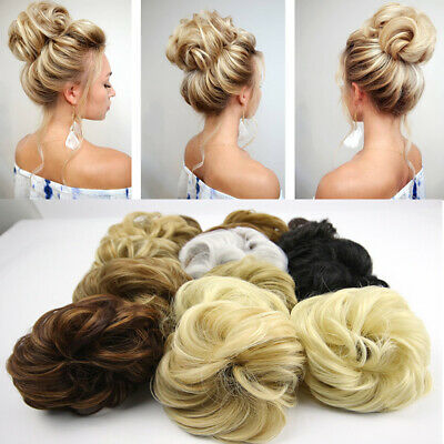 UK LARGE TOP Curly Messy Bun Hair Piece Scrunchie Thick Hair Updo Extension 8u7