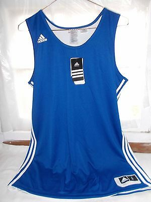 New Adidas Sample Girls Performance Basketball Practice Jersey Large Blue White