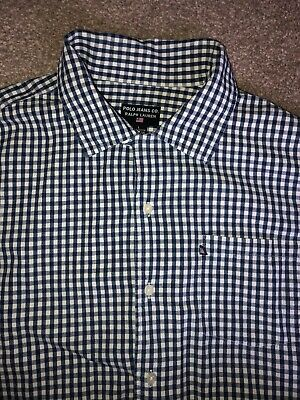 Mens Genuine Ralph Lauren Polo Jeans Short Sleeved Shirt Size Large Checked