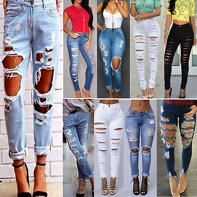 Women High Waist Ripped Denim Jeans Casual Jegging Skinny Trousers Stretch Pants