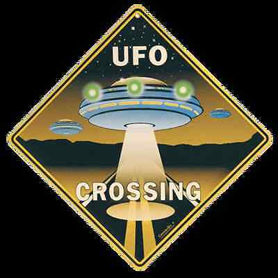 UFO Crossing Sign NEW 12X12 Metal Space Ship Alien