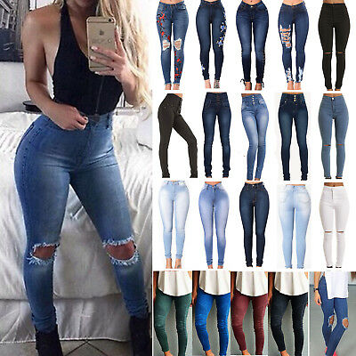 Plus Size Women Ripped Skinny Pants Jeggings Leggings Stretchy High Waist Jeans