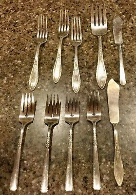 WM. ROGERS A1 PLUS ONEIDA LTD SILVER-PLATE FLATWARE 8 Forks & 2 Cheese Spreaders