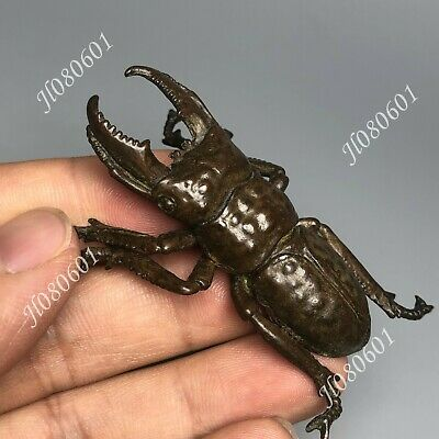 Collectible Chinese Old Pure Solid Copper Stag Beetle Vintage Ornament Statue