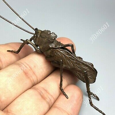 Collectible Chinese Old Pure Copper Grasshopper Handwork Insect Ornament Statue