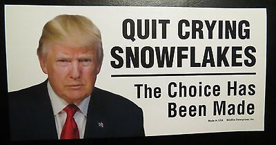 Lot Of 10 Quit Crying Snowflakes The Choice Has Been Made Trump Stickers 2020