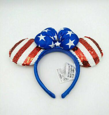 Disney Park Sequined Mickey Minnie Mouse Ears USA American Flag New Bow Headband