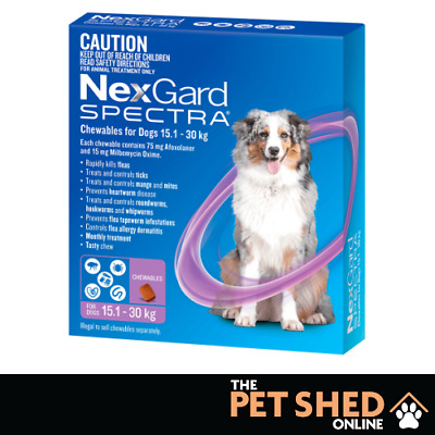 Nexgard Spectra Worm Tick Flea Large Dogs 15.1 - 30 kg Purple Chewable 6 Pack