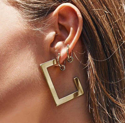 Gold Silver Plated Fashion Jewelry Geometric Square Hoop Charm Women Earring