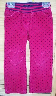 MINI BODEN hot pink corduroy pants with purple polka dots~girl's size 4Y~4~4T~