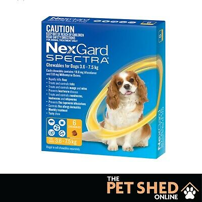 NexGard Spectra Worm Tick Flea Small Dogs 3.6 - 7.5 kgs Yellow..... 3 OR 6 PACK