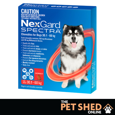NexGard Spectra Worm Tick Flea Extra Large Dogs 30.1 - 60 kg Red 3 OR 6 PACK